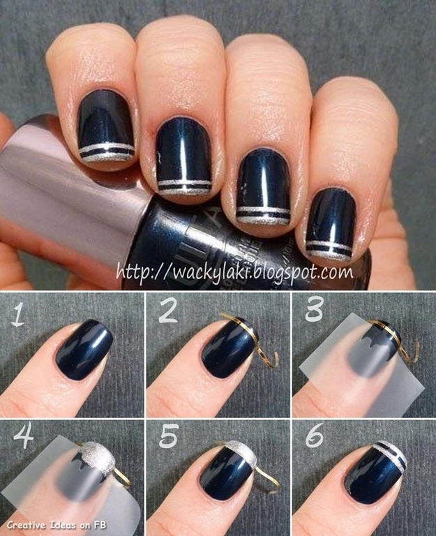 3. Use thin nail tape to create designs - 23 Amazing Nail Art Secrets You Can Do On Yourself!