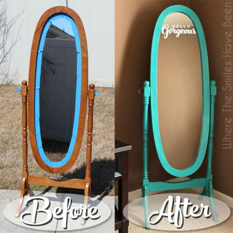 Teal Oval Mirror