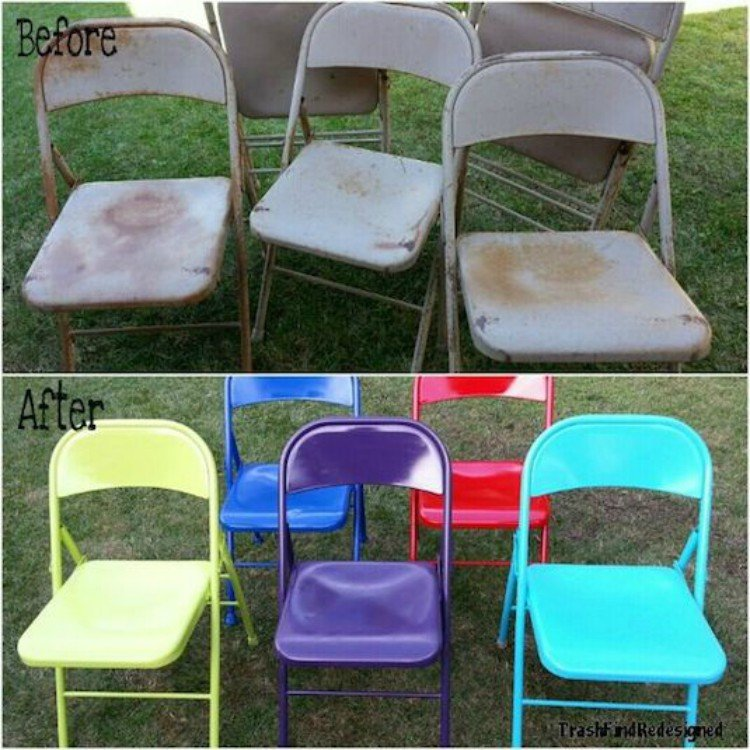 Spruce up metal, folding chairs.