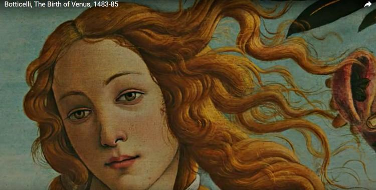 Goddess Venus in Botticelli painting.