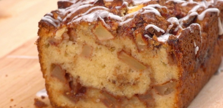 Close-up of sliced apple fritter bread