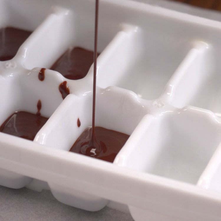 Pour Chocolate into Ice Cube Trays