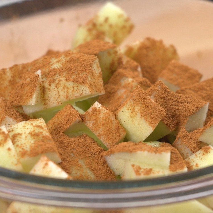 Combine diced apples with cinnamon