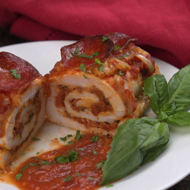 Chicken stuffed with marinara, mozzarella and pepperoni