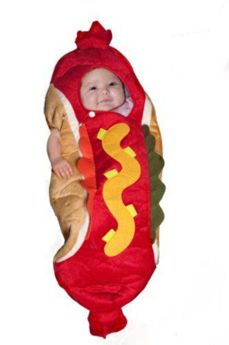 Image of baby in hot dog costume