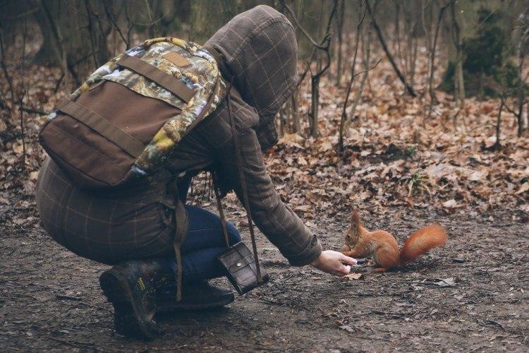 Woman feeding squirrel in woods.