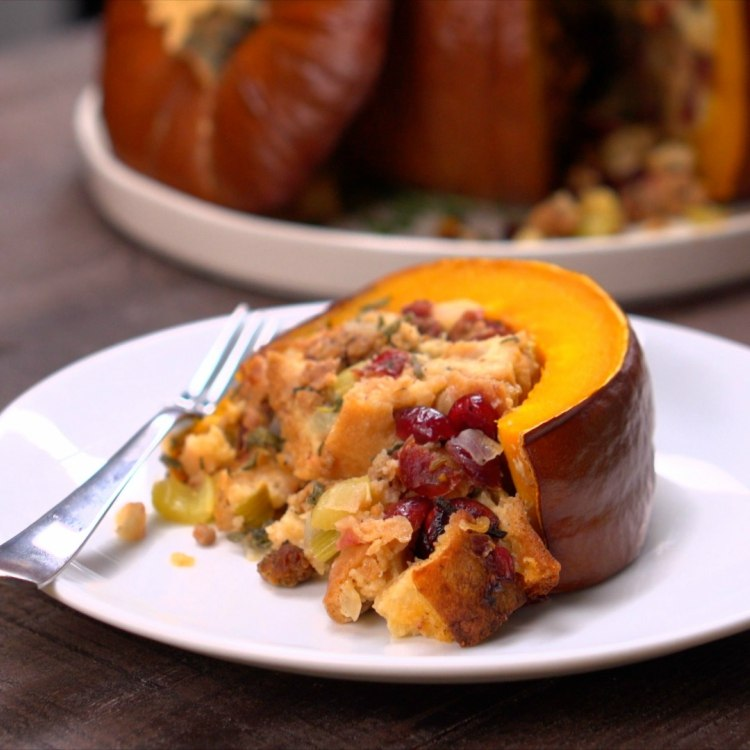 Slice of roasted stuffed pumpkin