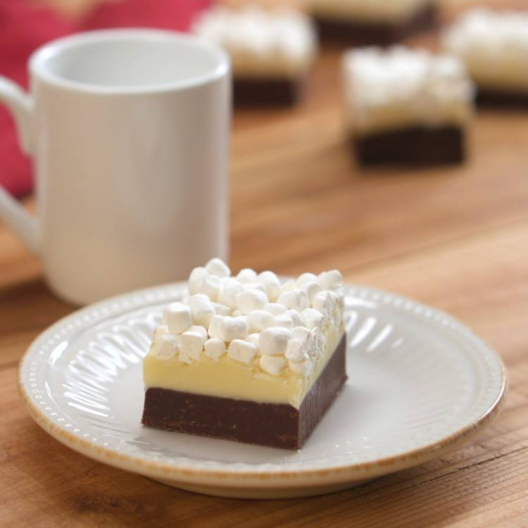Chocolate and white chocolate fudge topped with marshmallows