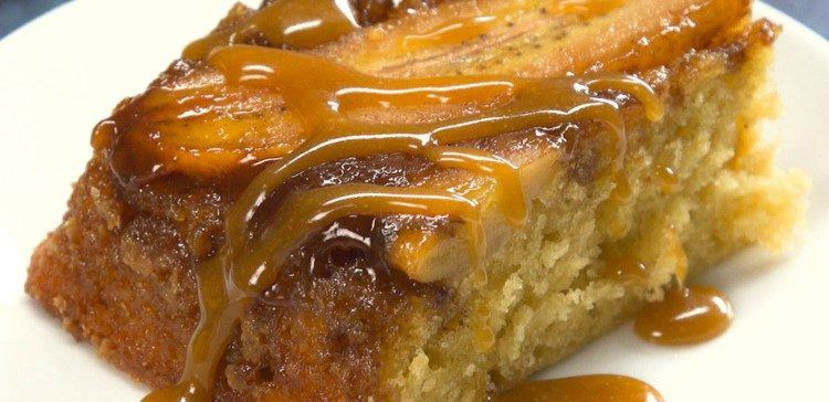 Close-up of piece of bananas foster upside-down cake