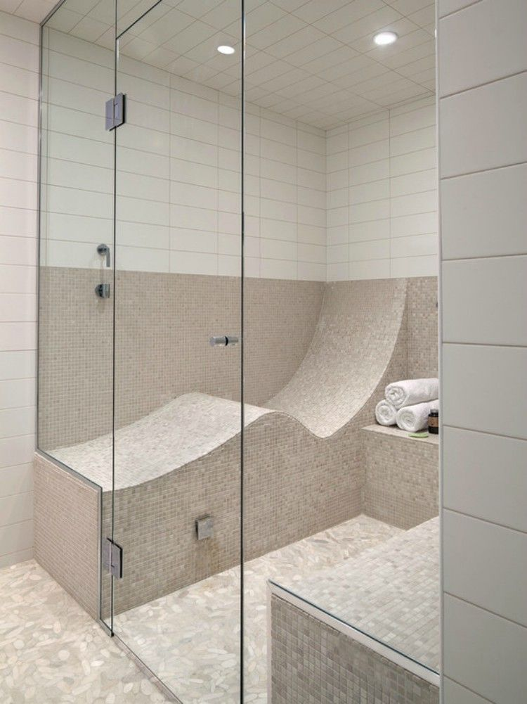 Shower with a lounge inside.