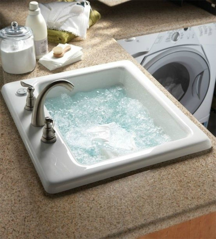Kitchen sinks with water jets.