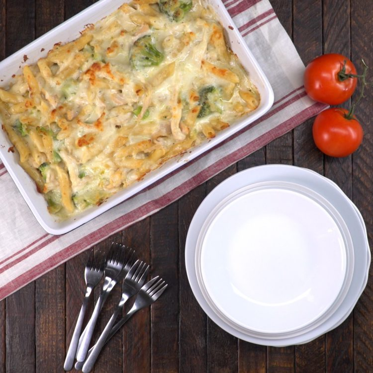 Chicken Alfredo Baked Ziti hero shot