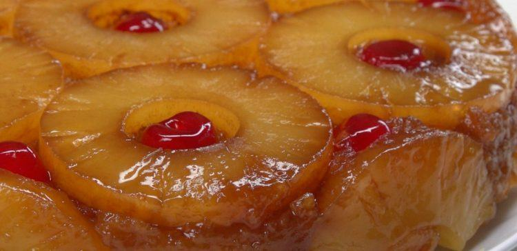 Close-up of baked pineapple upside-down cake
