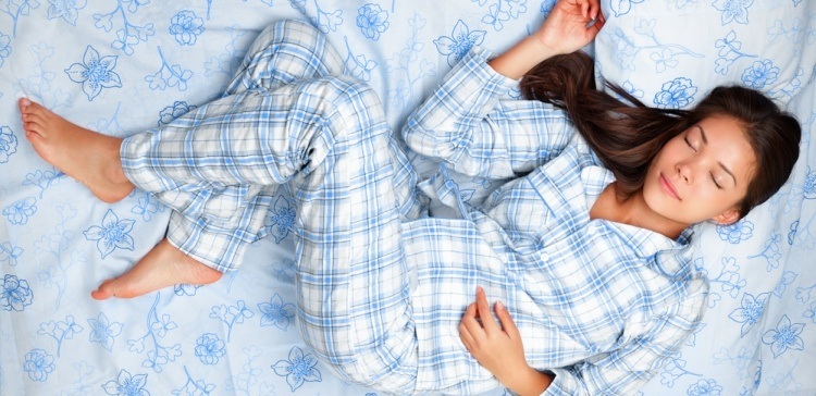 WomanInBluePlaidPajamas
