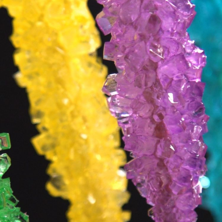 Homemade Rock Candy close-up black background