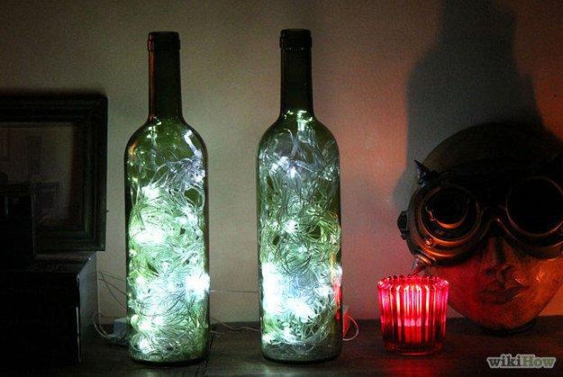 Fairy lights in bottles.