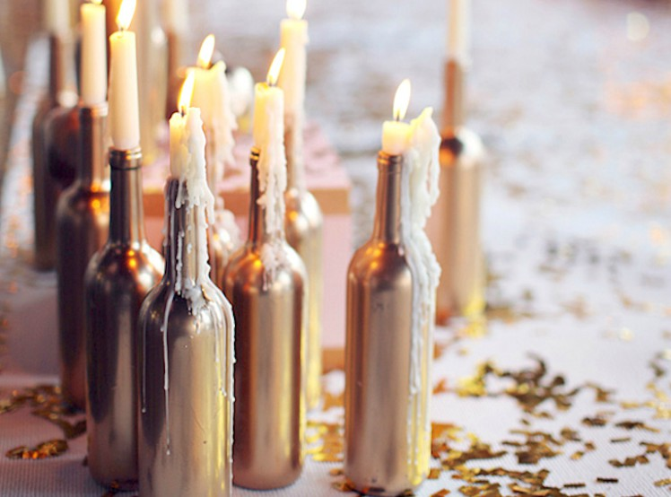 Metallic candle holders.