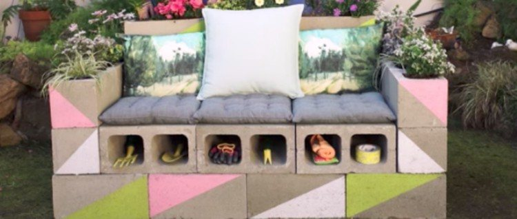cinder block loveseat