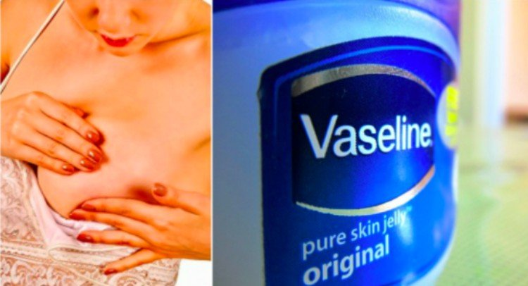 splitscreen of woman examining breasts and a jar of Vaseline
