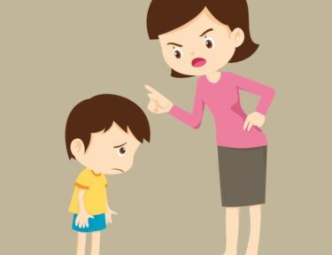 Image of mom chastising kid.
