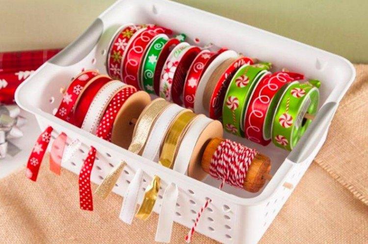 ribbons in laundry bin