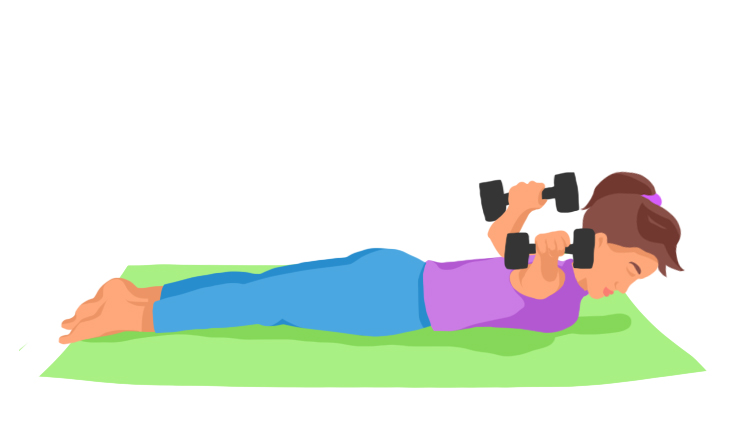 Woman pulling weights from stomach.