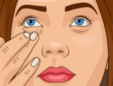 illustration of woman pulling at under eye area