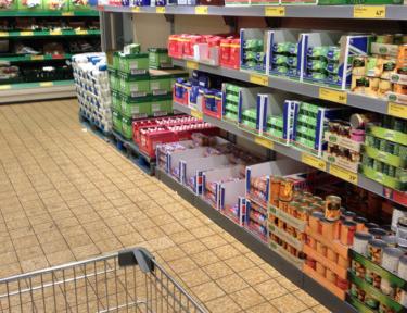 Image of shelves in Aldi