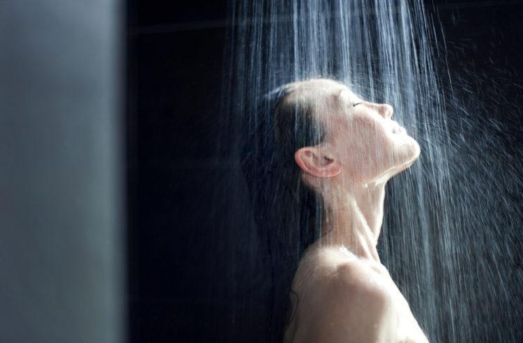 woman takes shower
