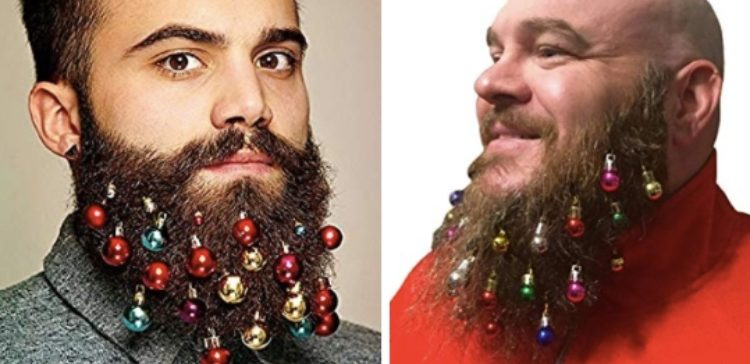 men modeling beard ornaments - Christmas Beard