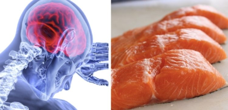 stroke illustration with salmon fillet