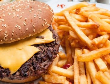 Pic of burger and fries fast food.