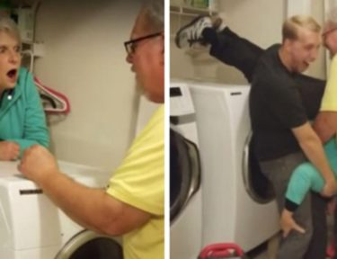 grandma behind dryer gets lifted out