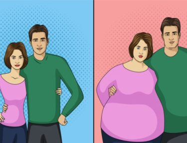 Graphic image of skinny couple and fat couple